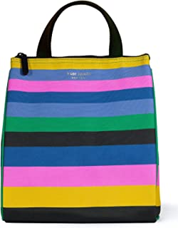 Kate Spade New York Portable Soft Cooler Lunch Bag with Silver Insulated Interior Lining and Storage Pocket, Enchanted Stripe