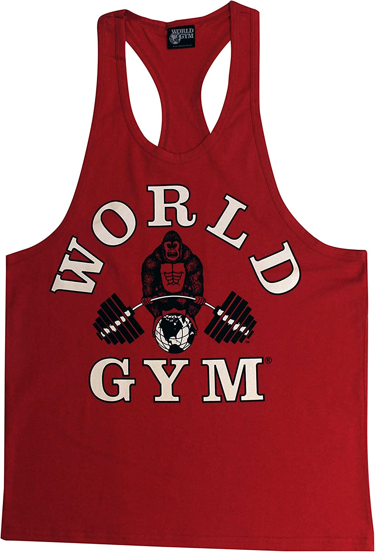 W330 World Gym Athletic Ringer Tank  Bodybuilding Workout Gym Top