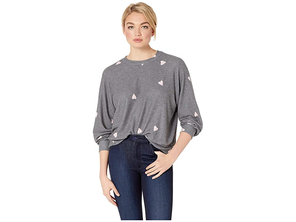 LNA Brushed Hearts Raglan (Grey/Pink Hearts) Women