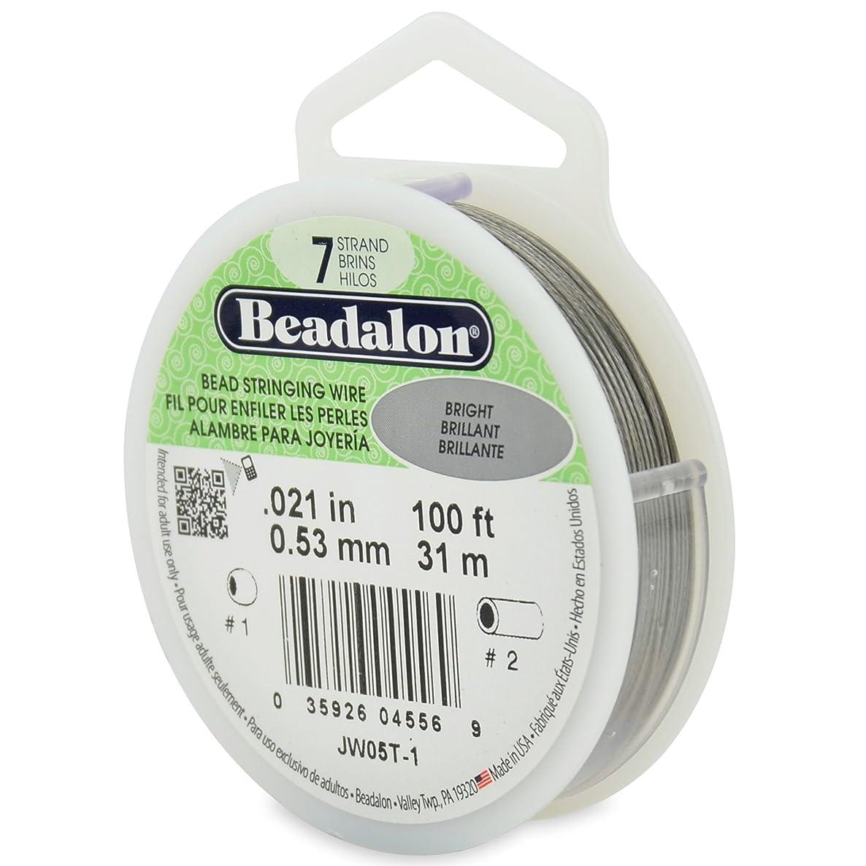 Beadalon 100-Feet 7-Strand Stainless Steel Bead Stringing Wire, 0.021-Inch, Bright