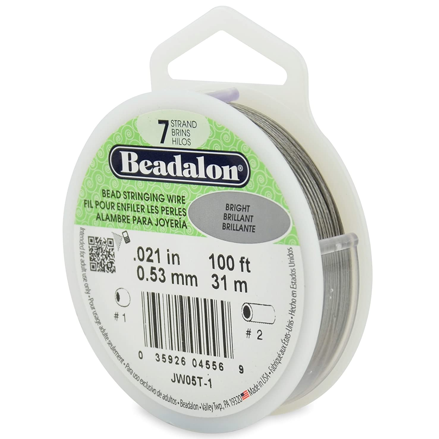 Beadalon 100-Feet 7-Strand Stainless Steel Bead Stringing Wire, 0.021-Inch, Bright
