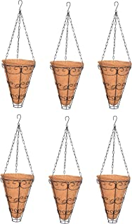 COIR GARDEN Conical Coir Basket 9 INCH with Metal Stand and Chain - Coco Flower pots(Pack of 6) Ht: 30.5 cm Dia: 23 cm