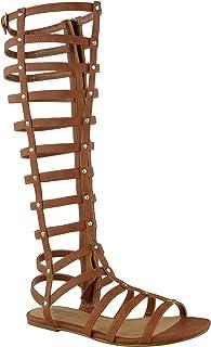 Mujer Corte Sandalias Estilo Gladiador Plano Rodilla Botas