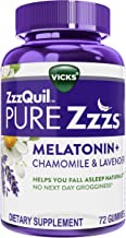 ZzzQuil Pure Zzzs, Melatonin Sleep Aid Gummies with Lavender, Valerian Root and Chamomile, Natural Wildberry Vanilla Flavo...
