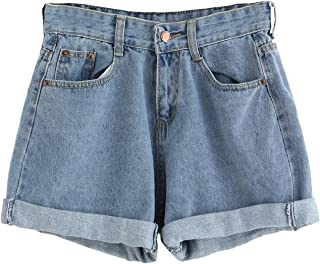 Women's Retro High Waisted Rolled Denim Jean Shorts with Pockets