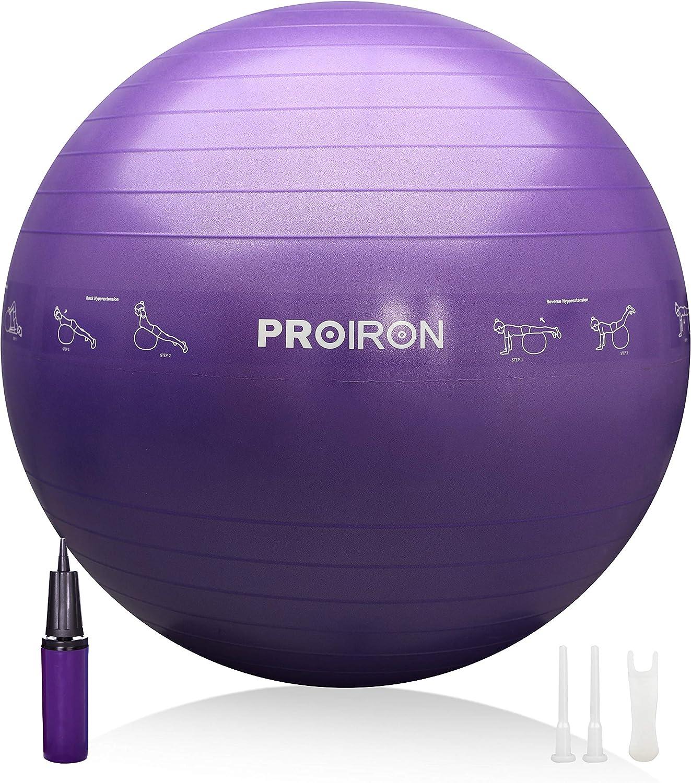 PROIRON Pelota de Pilates 75cm 65cm 55cm Fitball Pilates Pelota Embarazo con Patrón de Pose Grueso y Anti-explosión Incluidos Bomba