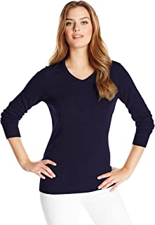 Cutter & Buck Women's Soft Merino Blend Douglas Long Sleeve V-Neck Sweater Black