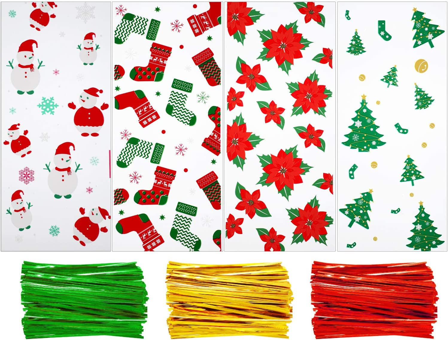 100 Pieces Christmas Cellophane Bags Candy Gift Goodies Treat Bags with 150 Pieces Twist Ties, 4
