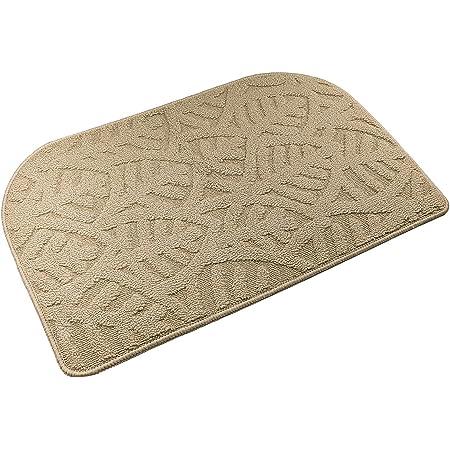 """TOONOW Indoor Doormats Front Door Mat,30""""x18"""", Low-Profile Machine Washable Kitchen Rug, Absorbent Mud Half Round Entrance Mat for Outdoors, Entryway, Patio, Bedroom, Beige"""