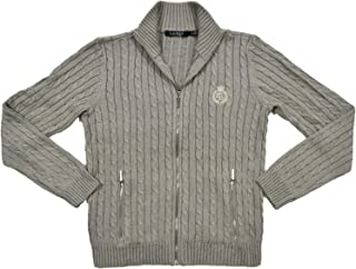 Ralph Lauren Womens Full Zip Cable Knit Crest Sweater (X-Large, Grey)