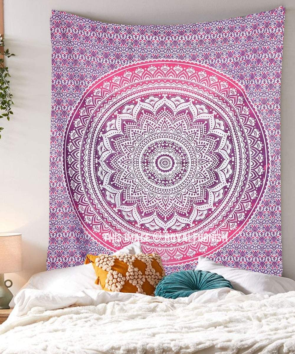 Royal Furnish Pink Hippie Tapestry Boho Home Decor Blanket for Bedroom,Living Room,Dorm Psychedelic Bedding Aesthetic Indian Wall Hanging (Twin (84x54)Inch, Pink)