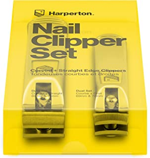 Harperton Nail Clipper Set - Fingernail and Toenail Clipper (Curved + Straight Jaw)