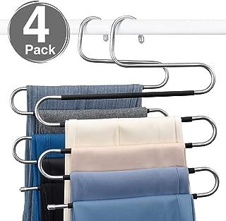 HOUSE DAY S-Shape Pants Hangers Space Saving Trousers Hangers 4 Pack, Non Slip Jeans Hanger Ideal Closet Organizer for Pants Jeans Scarfs Belts Ties, Black