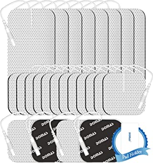 DOMAS 2MM Pin Type Thickened TENS Unit Pads 2 x 2inch 16pcs and 2 x 4inch 8pcs, Wired Electrode Reusable Replacement Pads ...