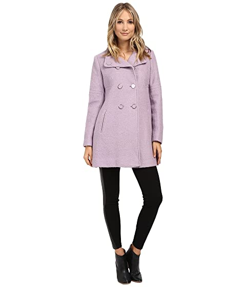 Jessica Simpson Womens Mod Seams Boucle Double Breasted Black - Coats & Outerwear