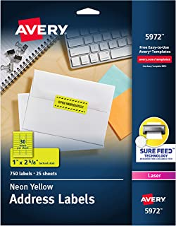 """Avery Neon Address Labels with Sure Feed for Laser Printers, 1 x 2 5/8"""", 750 Yellow Stickers (5972)"""