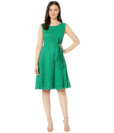 Tahari by ASL Stretch Lace Side Tie Fit and Flare Dress (Tropical Green) Women