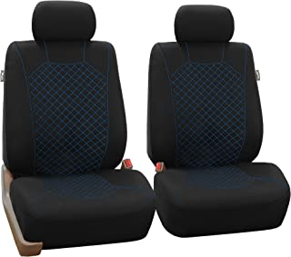 FH Group April Sale FB066102 Ornate Diamond Stitching Car Seat Covers, (Airbag Ready) White/Black Color- Fit Most Car, Truck, SUV, or Van