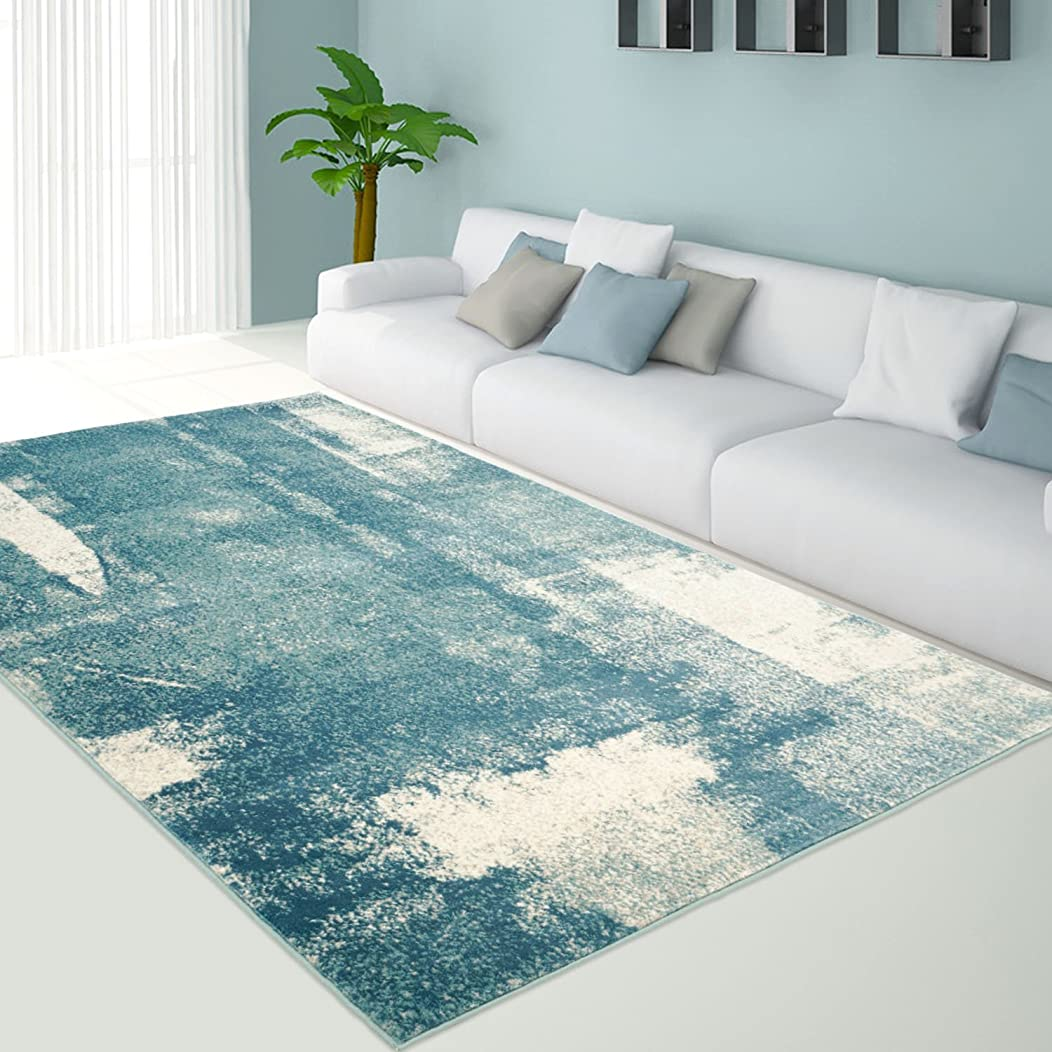 Ladole Rugs Teal Unigue Area Rug for Living Room, Dining Area, Bedroom 4x6, 5x8, 7x10 Area Rug (3'9