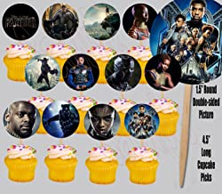 Party Over Here Black Panther Movie Cupcake Picks Double-sided Images Cake Topper -12