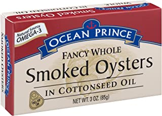 Ocean Prince Smoked Oysters in Cottonseed Oil, 3-Ounce Cans (Pack of 18)
