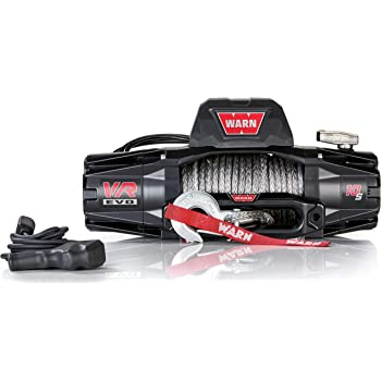 """WARN 103253 VR EVO 10-S Electric 12V DC Winch with Synthetic Rope: 3/8"""" Diameter x 90' Length, 5 Ton (10,000 lb) Pulling Capacity"""