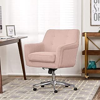 Serta Style Ashland Home Office Chair, Twill Fabric, Blush Pink