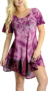 LA LEELA Women's Beach Dress Summer Casual Elegant Party Dress Hand Tie Dye