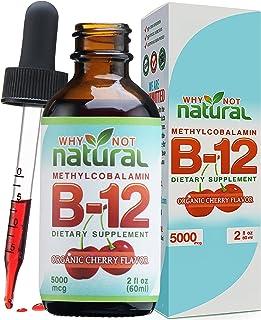 Organic Vitamin B12 Liquid - Extra Strength 60 x 5000mcg Drops (Methylcobalamin), w/Natural Cherry Flavor   Designed to Ma...