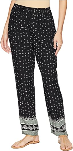 Fan Geo Tie Waist Printed Pull-On Pants