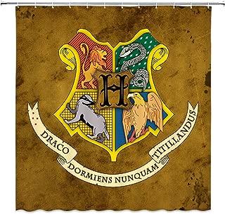Feierman Harry Potter Shower Curtain Decor Hogwarts Magic School Logo Fabric Bathroom Curtain Decor Machine Washable Waterproof with Hooks 70x70Inches