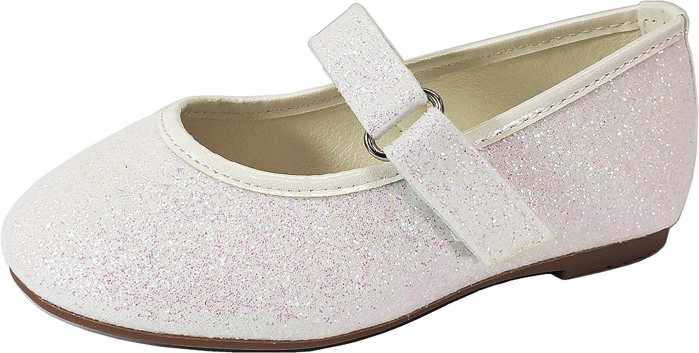 Wells Collection Little Girls Baby Mary Jane Ballerina Dress Slip On Glitter Ballet, White, 5 Toddler
