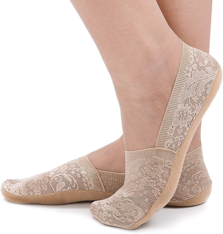 Flammi 4 Pairs Women's Lace No Show Liner Socks Non Slip Cotton Bottom Socks for Sneaker Lofer