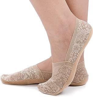 Flammi Women's Lace No Show Liner Socks Non Slip Cotton Bottom 4 Pairs