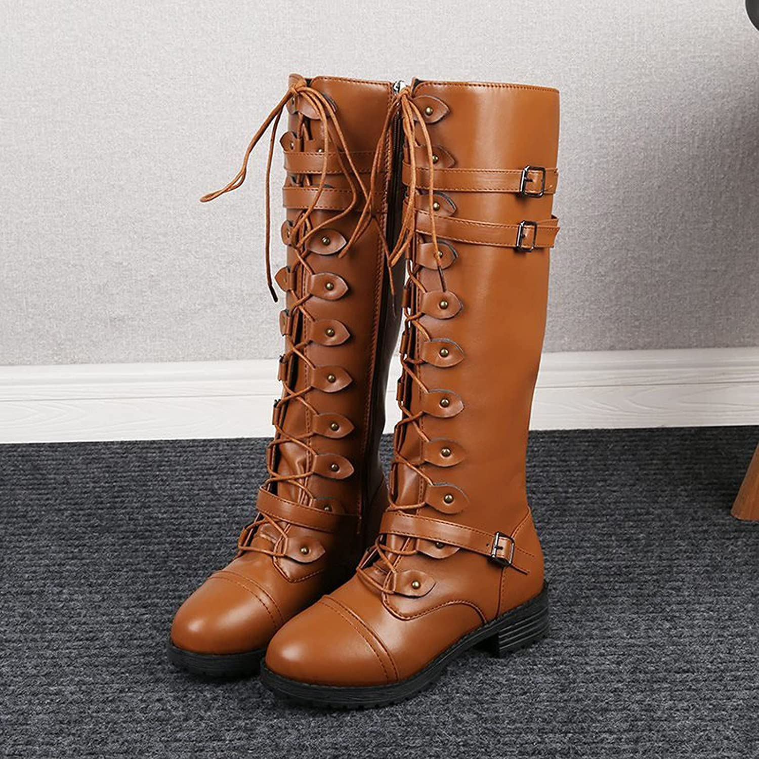 Women's Studded Mid Calf Combat Boots Cool Boots Round Toe Double Straps Buckles Low Heel Booties For Driving