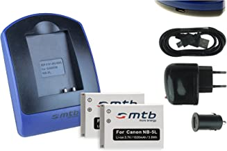 2 Baterìas + Cargador (USB/Coche/Corriente) para Canon NB-5L / Ixus 90 IS, 800 IS, SD990 IS.Powershot S110, SX230 HS .Ver Lista