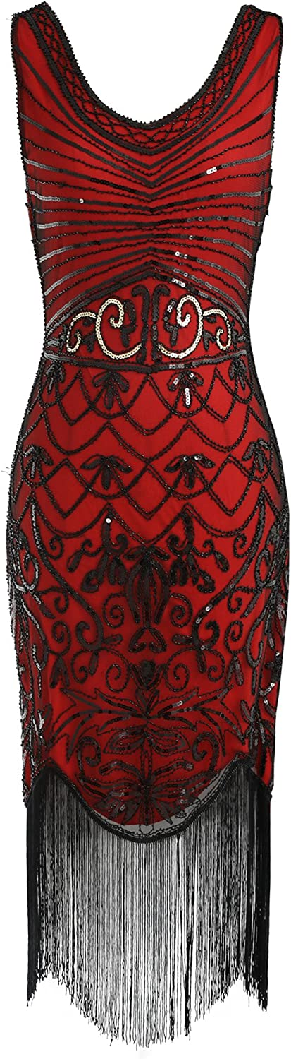 Celeblink 1920s Sequin Flapper Dress Great Gatsby Inspired Embellished Dress