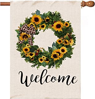 pinata Welcome Sunflower Wreath Large House Flag 28x40 Inches, Double Sided, Burlap Outdoor Decor for Summer Fall Farmhous...