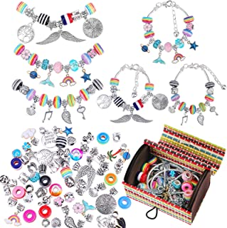 ADXCO 85 Pack Jewellery Making Kit Charm Bracelet Making Sets Rainbow Silver Plated Beads Chains Charm Bracelet Making Set...