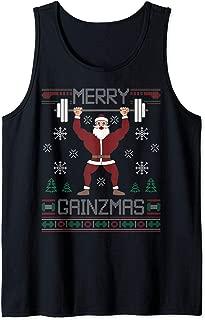 Merry Gainzmas Ugly Christmas Sweater Gym Coach Santa Claus Tank Top