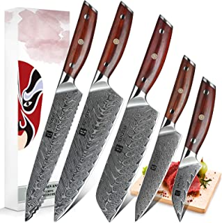 XINZUO 5 Pièces Ensemble de Couteaux de Cuisine, Haute Qualité Tranchants Japon Couteau de Cuisine Acier Damas Couteau de ...