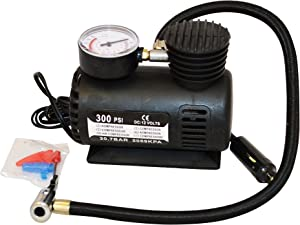 12v FAST AIR COMPRESSOR  amp  PRESSURE CHECKING GAUGE 300PSI Tyre  Car  Van  bikes  toys  sports etc FREE DELIVERY