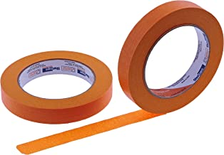 "2pk 3/4"" in x 60yd Bright Orange Masking Tape Extra Sticky PRO Grade High Stick Special Project Painters Tape Painting Trim Arts Crafts School Home Office 21 Days 18MM x 55M .75 inch Blaze Safety"