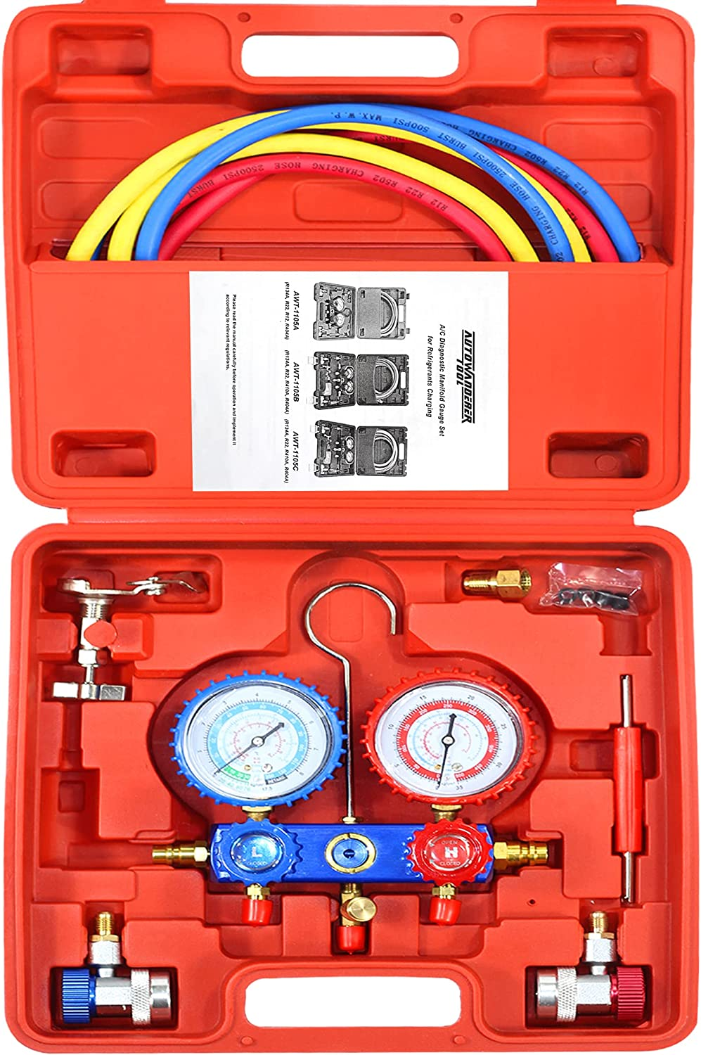 AutoWanderer Tool 3 Way A/C Manifold Gauge Air Conditioning Diagnostic Freon Charging Set Fits Auto Household R134A R404A R12 R22 Refrigerants