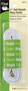 Dritz 9337W Soft Stretch Braided Elastic, White, 1/4-Inch by 3-Yard