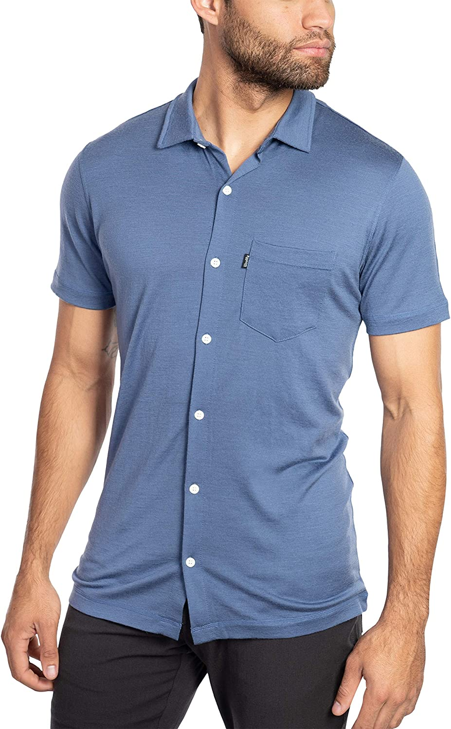 Woolly Clothing Men's Merino Wool Short Sleeve Button Up - Wicking Breathable Anti-Odor