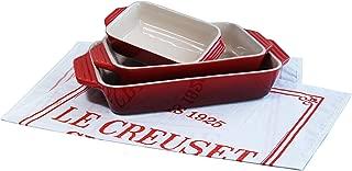 Le Creuset 3 Piece Cerise Cherry Stoneware Rectangular Casserole Dish Set with Free Bonus Cuisine Towel