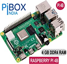 pibox India Raspberry PI 4 Model B 4B SBC IOT Board Broadcom 1.5GHZ A72 Processor with 4 GB DDR4 4K Video -Dual Micro HDMI, Gigabit Network -2019 Model