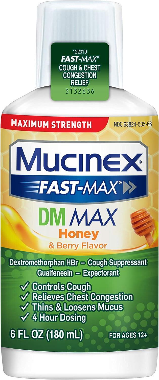 Mucinex Fast-Max Maximum Strength DM MAX, Symptom Relief, Cough Suppressant and Expectorant, Honey & Berry Flavor, 6 FL OZ