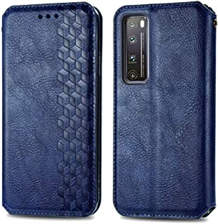 電話ケースカバー Huawei Nova 7 Pro Cubicグリッドプレス水平フリップ磁気PUレザーケースホルダー&カードスロット&財布 バッグスリーブ (Color : Blue)